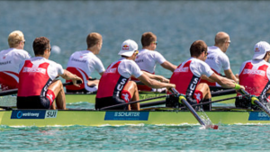 The catch position in the rowing stroke