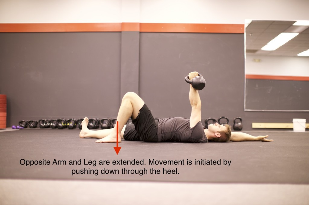 The first phase of the arm bar. Movement is initiated by pushing through the heel.