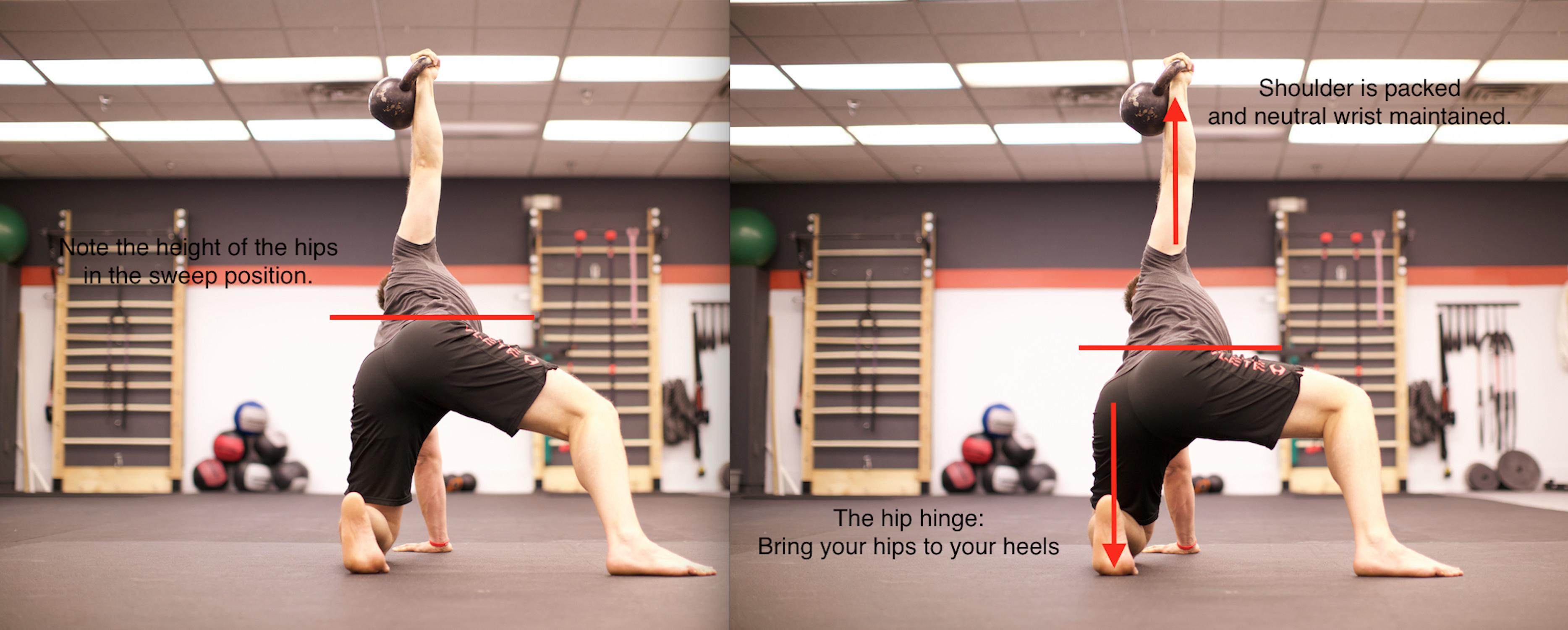 The hip hinge begins the transition to half-kneeling